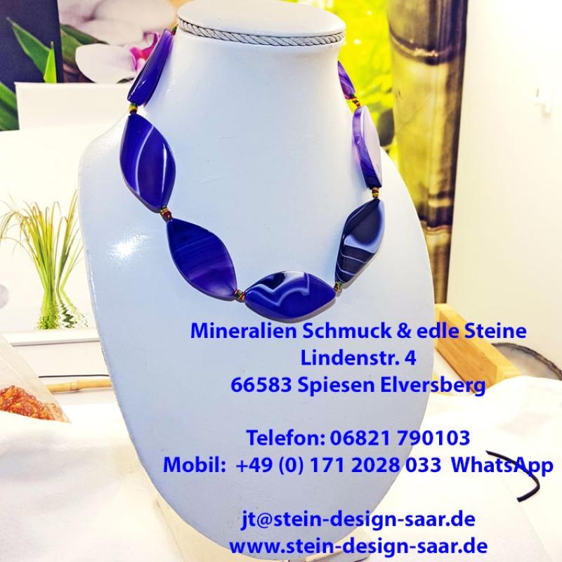 Stein Design Saar Konigsblaue Achat Kette Auf Perlseide