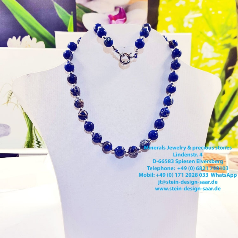 Jaspis Collier 10 mm Blue Motion