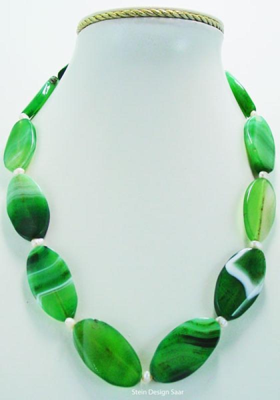 Stein Design Saar - Achat Edelsteinkette, ovale Steine aus